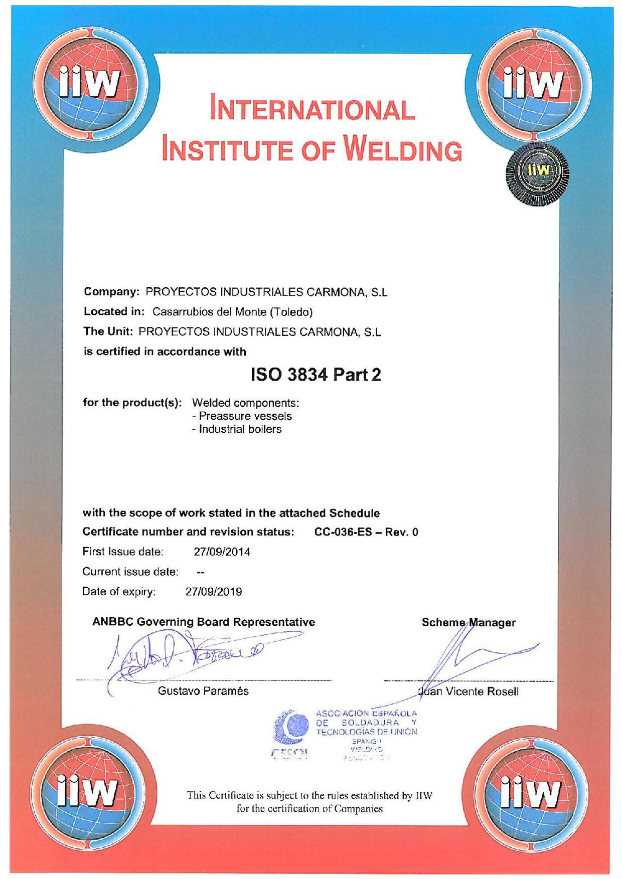 certificado iiw